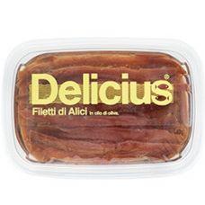 Ančiuvių filė, alyvuogių aliejuje, 12*250g (gr.k. 200g), Delicius
