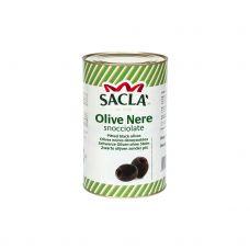 Alyvuogės juodos b/k, Hojiblanca, sūryme, 380/440, 3*4.3kg (gr.k. 2.2kg), Sacla