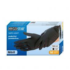 Pirštinės nitrilo, be pudros, juodos, S, 10*100vnt., HygoStar